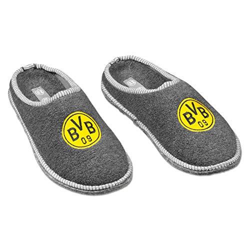 Borussia Dortmund Hausschuhe, Grau, Polyester, BVB-Emblem 04 (Herren-emblem)