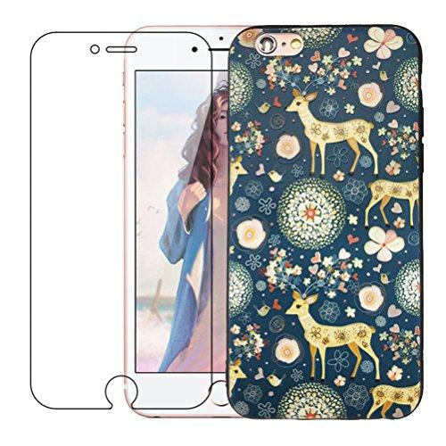 Coque iPhone 7 Plus, Étui iPhone 8 Plus [avec Verre Trempé], Étui Housse Téléphone le soulagement Étui TPU Silicone Souple Coque Motif Arrière Case Antichoc Résistant Aux Housse Étui - Paon Elk