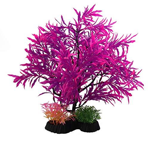 joizo 1pc künstliche Anlage Aquarium Aquascaping Dekorative Kunststoff Pflanze Aquarium Dekoration Realistische Koralle Wasser Gras Wasser Kreatur Fisch Landschaft - Lila -