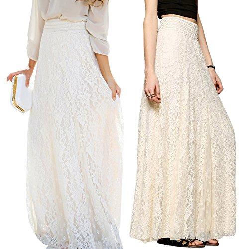 Etosell Femmes Taille A Haute Dentelle Boho Floral Jupe Longue Robe M39 Blanc