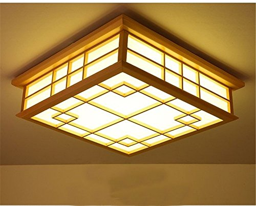 Japanische Design-tatami-matte (Malovecf Protokolle der Japanischen Deckenleuchte-Lampen aus Holz Wohnzimmer Schlafzimmer Arbeitszimmer Japanischen Tatami-Matten-Lampe, 450mm, 24W, LED, Warm Licht)