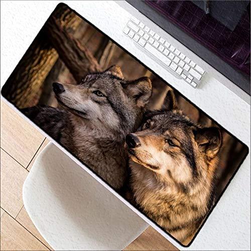 Erjiasan Großes Spiel-Wolf-wildes Entwurfs-Muster-Computer, der Rand Mousepad Spiel-Mausunterlage verriegelt,400X900X2MM -