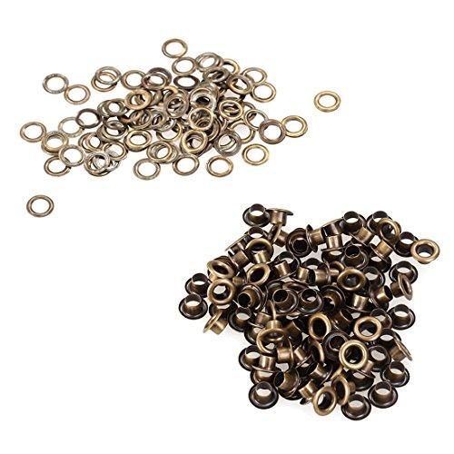 100pcs Weinlese Messingmetallöse Durchführungstülle für Leder Craft 4mm Silber Ton Bronze