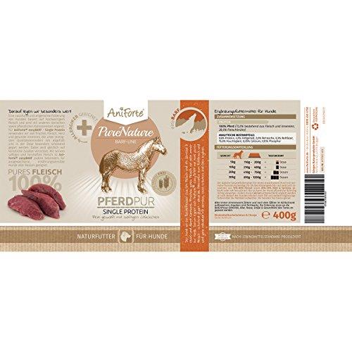 AniForte® PureNature easyBarf Single Protein 400g 100% Fleisch Hundefutter- Naturprodukt für Hunde (Pferd Pur, 6x400g) - 4