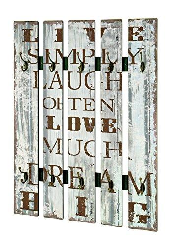 Wandgarderobe in Vintage mit Schriftzug und 10 Garderobenhaken; Maße: 70x9xH100 cm