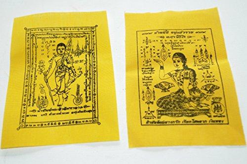 fabric-talisman-amulet-religious-scrolls-of-nang-kwak-and-pha-yant-phra-srivaree-blessed-yantra-clot