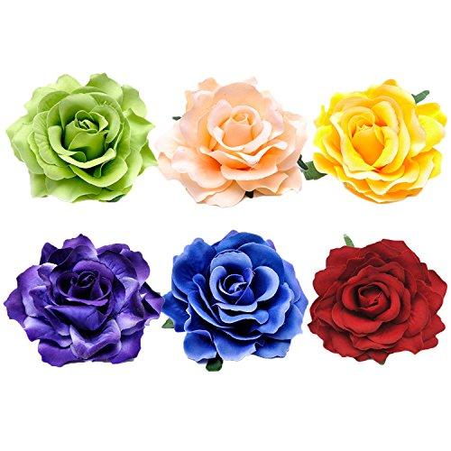 6 PCS Assortiment de couleur femme mariée rose fleur corsage cheveux clip Barettes accessoires pour fête anniversaire de mariage