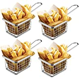 MultiWare 4 Pcs Chrome Puce Poêle à Frire Panier Rond Panier de Service Idéal pour Chips Frites