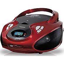 Lauson CP439, Radio Boombox FM/AM, CD Portátil, con USB, Lector de tarjetas SD, Rojo/Negro