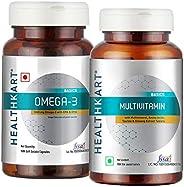 HealthKart Multivitamin 90 tablets + Omega 3 Fish Oil Supplement 90 caps,Unflavoured (Pack of 2)
