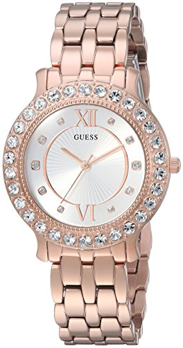 GUESS Women's Stainless Steel Crystal Watch, Color: Rose Gold-Tone (Model: U1062L3)