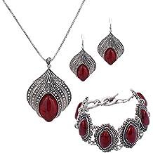YAZILIND joyas de diseño especial manteles individuales, diseño de flores, color turquesa Claw-Collar con colgante para mujer de plata Pendientes chapados en correa encanto