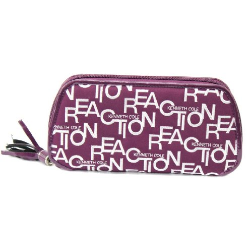 Kenneth Cole Reaction Handbag, Fabric Embroidered Zip Around Clutch Wallet-Purple (Clutch Cole Kenneth)