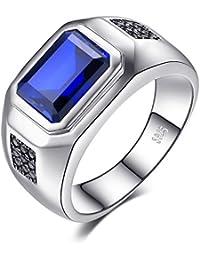 JewelryPalace Luxe Bague Homme en Argent Sterling 925 en Saphir de Synthèse 4.47ct pour Fiançailles Mariage Alliance Anniversaire