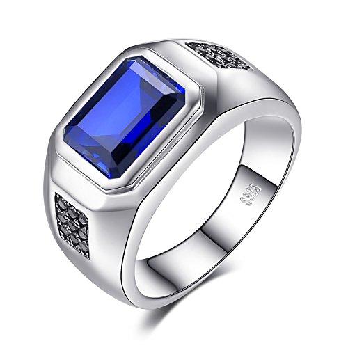 JewelryPalace Männer 4.3ct Erstellt blaue saphir Natürlicher schwarzer Spinell Jahrestag ringe Hochzeitsring 925 Sterling Silber Größe 57 to 68 (Emerald Ring Herren)