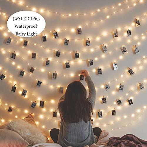 Kitlit 100LED Cadena Luces Pilas Guirnalda Luces Exterior Interior Impermeable Guirnalda de Luces Blanco Cálido Luces de Cadena Luces de Hadas Decoración de Fiestas,para Luces de Navidad,Balcón,Fiesta