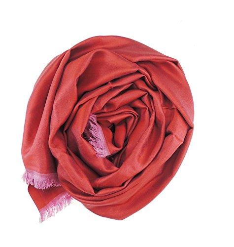 Superbe Parure de lit réversible 100%  soie 2 Couleur soir Écharpe/foulard Rouge - Red & Fuchsia