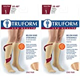 Truform Compression 30-40 Mmhg Knee High Dot Top Stockings, Beige, Small, 2 Count