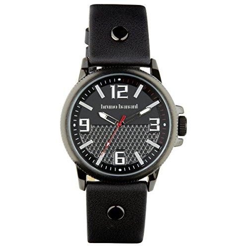 Bruno Banani Men's Quartz Watch Prios Leather Bracelet Black Dial schwarz Trend Watch UBR30025