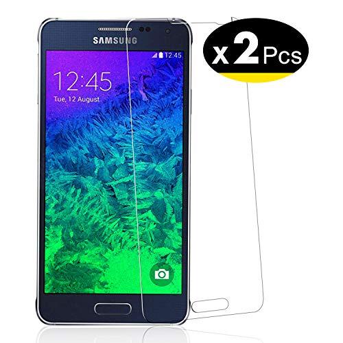 NEW'C PanzerglasFolie Schutzfolie für Samsung Galaxy Alpha (G850), [2 Stück] Frei von Kratzern Fingabdrücken & Öl, 9H Härte, HD Bildschirmschutzfolie, Bildschirmschutzfolie Samsung Galaxy Alpha