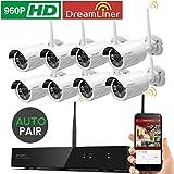 [Dream-Liner WiFi Booster] xmartO WOS1388 Kabellos 8CH 960p(1280 x 960) HD Überwachung Kamera-Sicherheitssystem mit 8 Indoor/Outdoor WiFi Nachtsicht IP Kamera(25m Nachtsicht, Plug and Play, Smartphone Remote View)