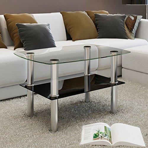 Lingjiushopping Table Basse en Verre trempe 2 Plateaux Materiel: Verre trempe Couleur: Transparent (Plateau en Verre)
