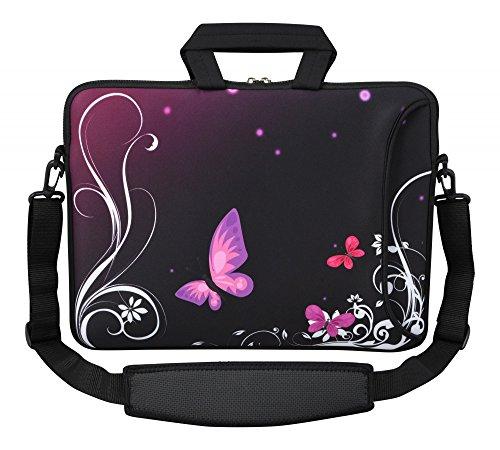 MySleeveDesign Laptoptasche Notebooktasche Umhängetasche Größe 15,6 Zoll und 17,3 Zoll - mit VERSCH. DESIGNS - Butterfly Light [15]