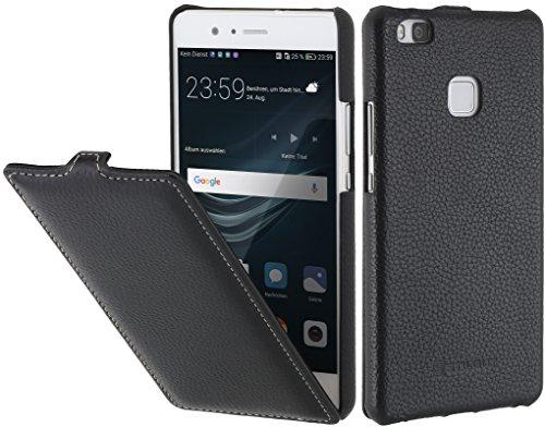 StilGut UltraSlim Case Hülle Leder-Tasche für Huawei P9 lite. Dünnes Flip-Case vertikal klappbar aus Echtleder für das Original Huawei P9 lite, Schwarz
