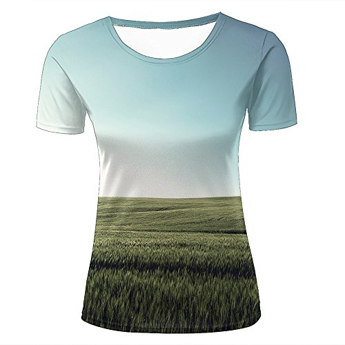 ouzhouxijia Mens T-Shirts 3D Printed Country Road, Wheat Fields Graphic Couple Tees C