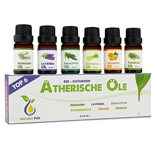 Natura Pur Ätherische Öle Set - 100{3ed394165f1c7947656ea245e776f1d25c3f0c1fa0208a6933eb67922e33c257} Bio naturrein - Duftöle Aromaöle für Diffuser und Aromatherapie, 6 x 10ml (Rosmarin, Lavendel, Eukalyptus, Zitronengras, Orange, Teebaum)