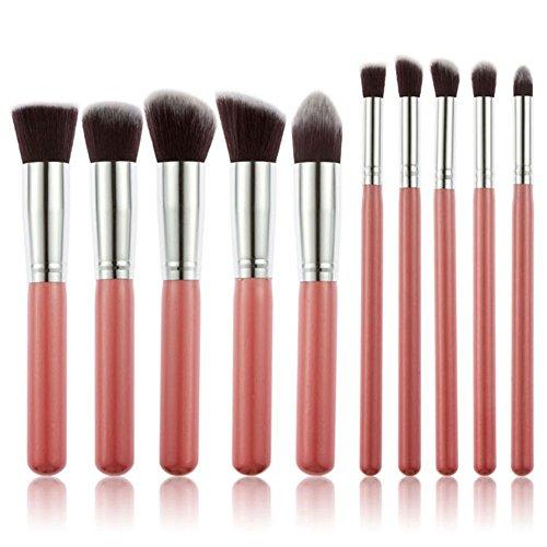 Sayue 10Pcs Kit de Pinceaux de Maquillage Set de Cosmétique Professionnel, Rose Argent