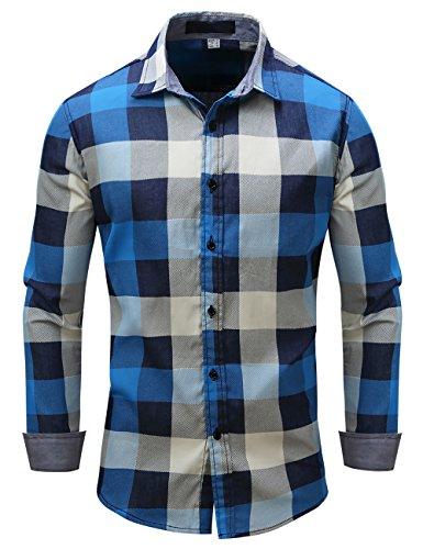 Pinkpum Kariertes Herren Langarmhemd mit Krempelarm - Fitted Herren-Hemd,Hemd,Trachten-Hemd Blau 3 L