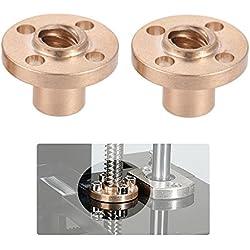 Aibecy Latón de 8 mm Brida trapezoidal T plomo Tornillo Tuerca para RepRap i3 impresora 3D de Z Eje