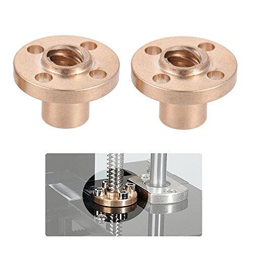 Aibecy 2 Pcs 8mm Messing Schraubenmutter Flansch Trapezförmig T Schrauben Muttern für RepRap Prusa i3 3D Drucker Z Achse