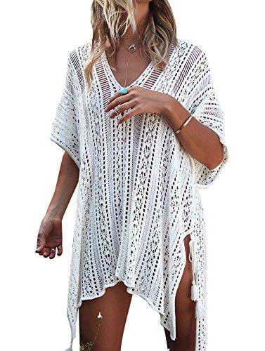 Strandkleid Damen Kurze Kleid Badeanzug Bikini Spitze Crochet Cover Up (Cremeweiß, M)