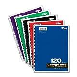 TOPS 3-subject Cahier à spirale, College Rule, 21,6x 27,9cm, Blanc, 120feuilles par livre, Housse couleur peut varier (65361)