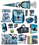 Familando Dragons Schulranzen-Set 24tlg. Federmappe, Sporttasche, Schultüte 85cm und Regenschutz Drache Ohnezahn