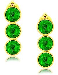 Spargz Antique Gold Plated Brass Metal Kemp Stones Drop Earring For Women AIER 431