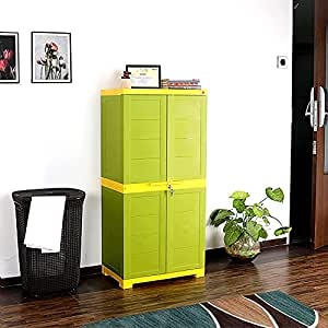 Cello Novelty Big Plastic Cupboard with 3 Shelves (Green and Yellow)