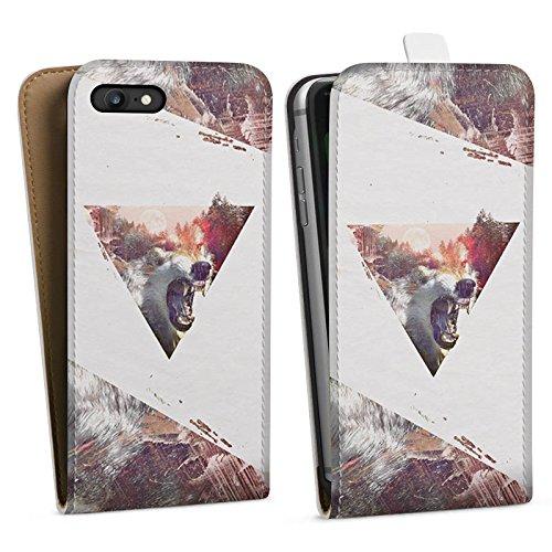 Apple iPhone X Silikon Hülle Case Schutzhülle Hipster Wolf Dreieck Downflip Tasche weiß