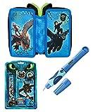 pabuTEL-Bundle 3in1-SET Drachenzähmen leicht gemacht 3 | Federmappe 3-Zip gefüllt + Pelikan griffix Füllhalter (blau) + Dragons Schreibset 5tlg.