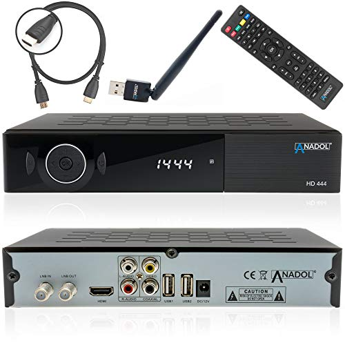 Anadol ADX HD 444 HD HDTV digitaler Sat-Receiver (HDTV, DVB-S2, HDMI, 2X USB 2.0, Full HD 1080p, YouTube, WiFi) [vorprogrammiert für Astra Hotbird Türksat ] inkl. HDMI Kabel und WLAN Stick schwarz