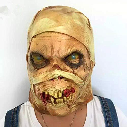 SN86NS Halloween Erwachsener COS Latexmaske Kopfbedeckung Horror Mumienmaske Spukhaus Filmrequisiten beängstigend Realistische Maskerade-Halloween-Maske