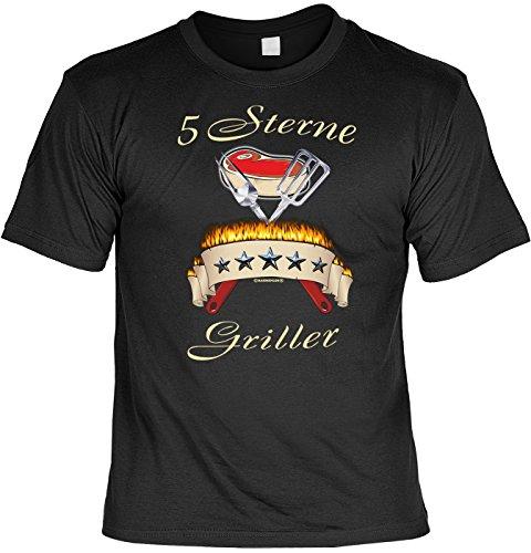 Grill T-Shirt 5 Sterne Griller Fun Shirt 4 Heroes Geburtstag Geschenk geil bedruckt mit Grillmeister Urkunde Schwarz