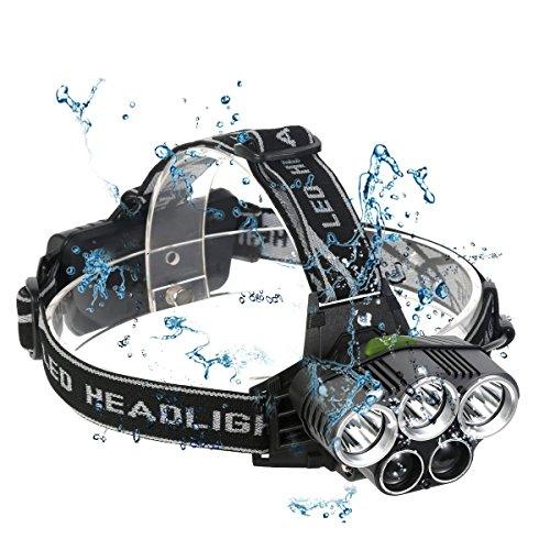 LED Stirnlampe, Neolight LED Kopflampe mit 5 LED CREE 8000LM mit Eingebauter Akku 6 Modi Perfekt für Camping, Mountainbiking, Fischerei, Keller