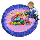 2Pcs Kinder Aufräumsack, Boonor Baby Krabbeldecke Matt Kinderzimmer Kinderteppich Spielzeugsack, Spielsack & Aufbewahrungssack – Blau 150cm, Rosa 100cm