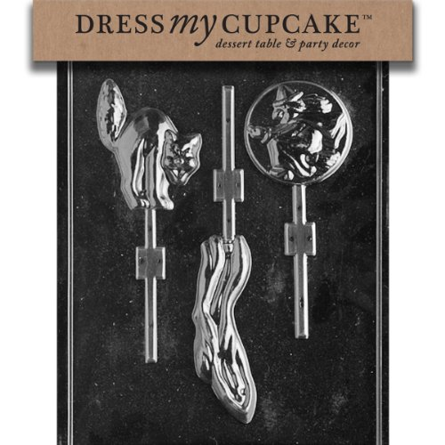 Dress My Cupcake dmch031 Chocolate Candy Mold, Fantasma/Gatto/Lollipop strega, halloween
