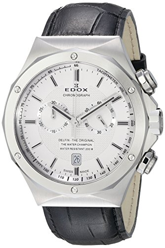 Edox Men's 10107 3C AIN Delfin Analog Display Swiss Quartz Black Watch