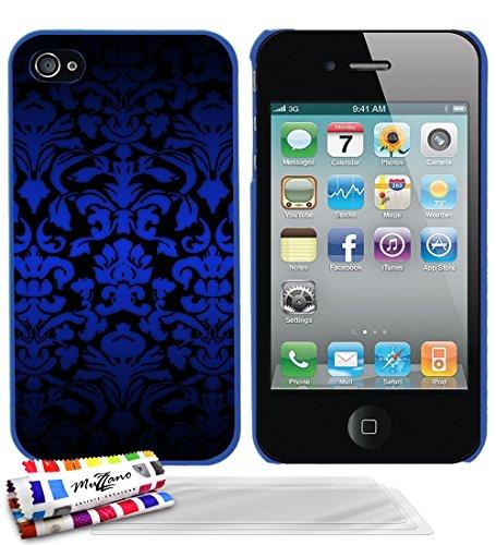 Ultraflache weiche Schutzhülle APPLE IPHONE 4S [Barock blau] [Schwarz] von MUZZANO + STIFT und MICROFASERTUCH MUZZANO® GRATIS - Das ULTIMATIVE, ELEGANTE UND LANGLEBIGE Schutz-Case für Ihr APPLE IPHONE Blau + 3 Displayschutzfolien