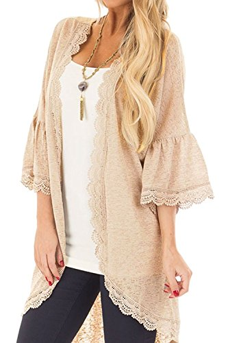 Sleeve Womens Bell Kostüm - Forsix Damen Ruffle Bell Sleeve High Low Kimono Cardigan Cover up Kostüme, Hellorange, X-Large